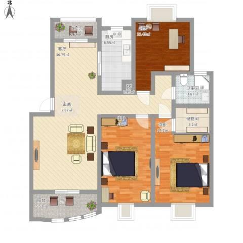 天惠爱丁堡公馆3室1厅1卫1厨147.00㎡户型图