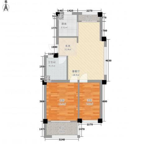 高新・锦绣北山2室1厅1卫1厨72.00㎡户型图