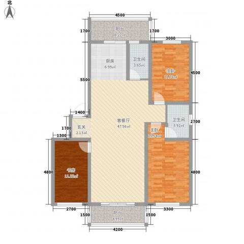 博隆金水湾家园3室1厅2卫0厨132.00㎡户型图
