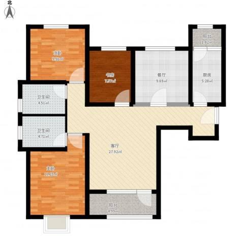 鸿坤・理想湾3室2厅2卫1厨130.00㎡户型图