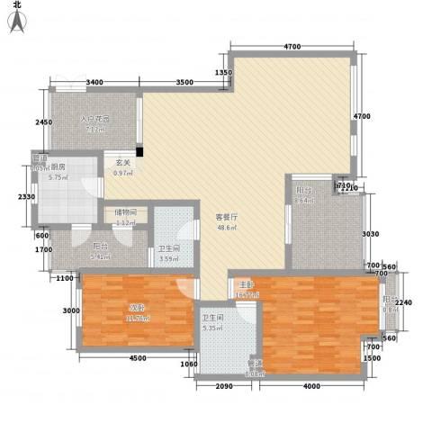 红墙建行单位宿舍2室1厅2卫1厨115.04㎡户型图