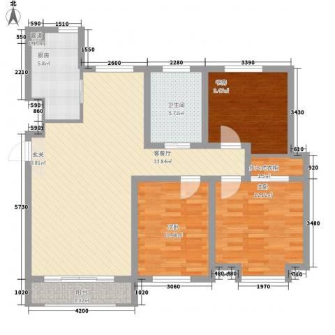 知语山3室1厅1卫1厨99.00㎡户型图