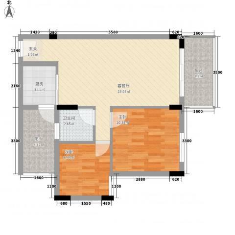 新新家园2室1厅1卫1厨79.00㎡户型图