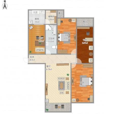 环球香樟园3室1厅1卫1厨111.00㎡户型图