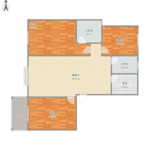 逸升佳苑3室1厅2卫1厨150.00㎡户型图