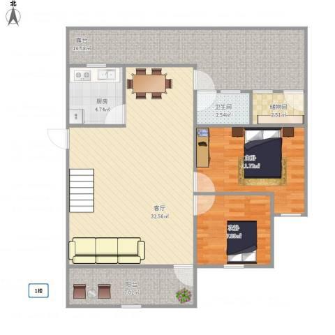 湖畔花园2室1厅1卫1厨115.00㎡户型图