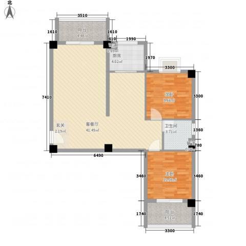 海上明珠家园2室1厅1卫1厨78.03㎡户型图