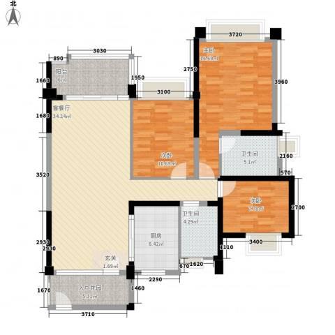 雅居乐约克郡3室1厅2卫1厨138.00㎡户型图