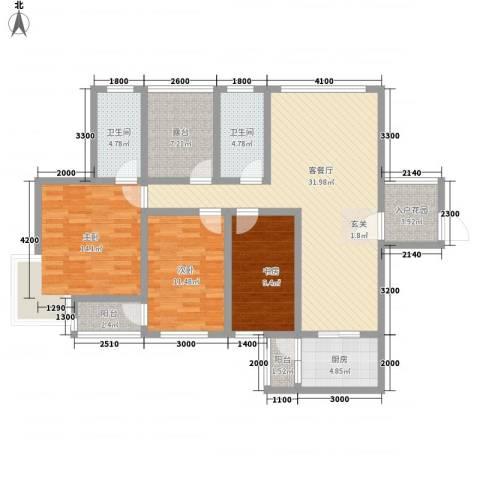 洪塘集资楼3室1厅2卫1厨141.00㎡户型图