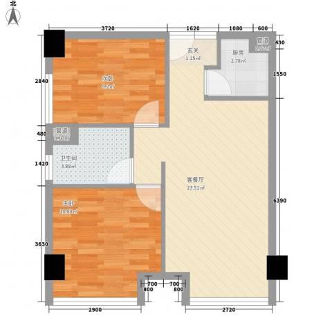 金丰阳光2室1厅1卫1厨72.00㎡户型图