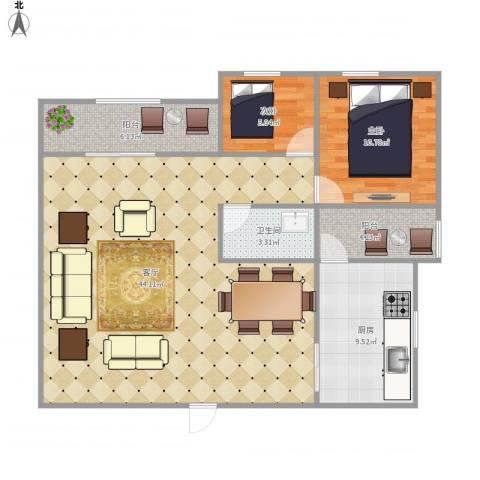 美景大厦7156822室1厅1卫1厨89.00㎡户型图
