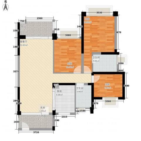 雅居乐约克郡3室1厅2卫1厨128.00㎡户型图