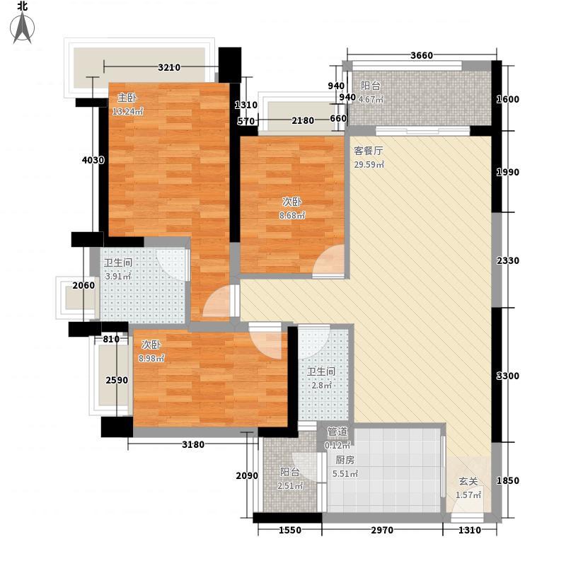 雅居乐约克郡115.00㎡9栋03/0户型3室2厅2卫1厨