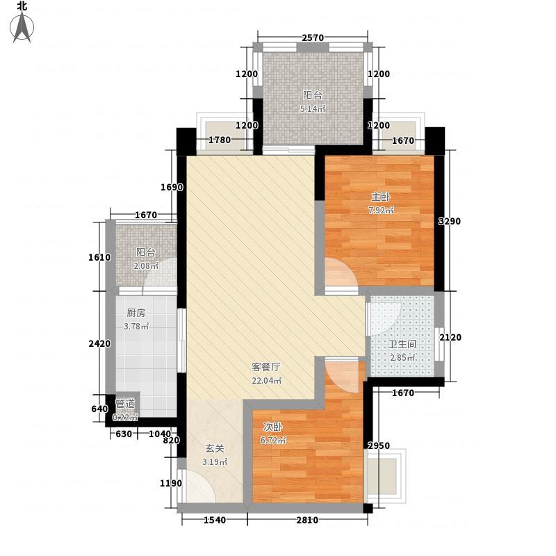 瑞同优米2室1厅1卫1厨74.00㎡户型图