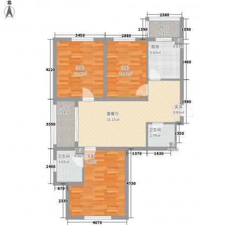 幸福港湾3室1厅2卫1厨77.46㎡户型图