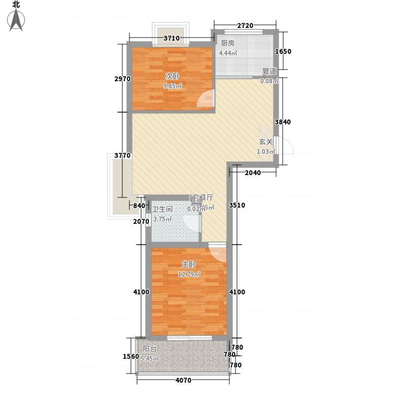 维利亚花园皇冠假日行馆87.75㎡1#2#西单元B户型2室2厅1卫1厨