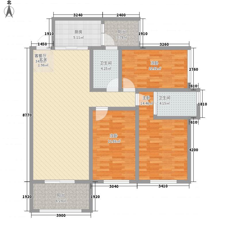 彰泰北城1号17.00㎡B-5户型3室2厅2卫1厨