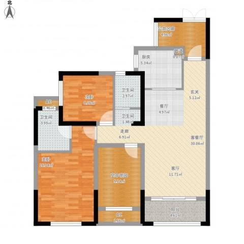 润和之悦2室1厅2卫1厨128.00㎡户型图