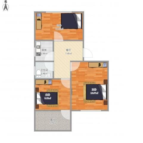 海棠花园3室1厅1卫1厨74.00㎡户型图