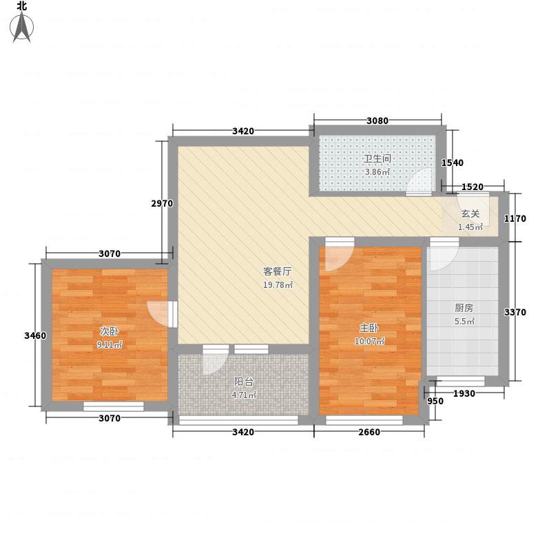 富华家园77.32㎡户型2室1厅1卫1厨