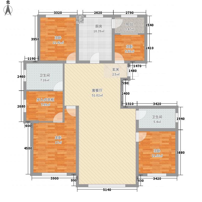 中建苏香台壹号184.10㎡2#B户型4室2厅2卫1厨