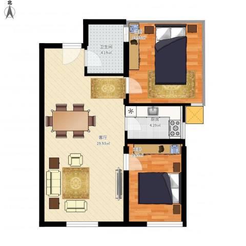 鸿坤・理想湾2室1厅1卫1厨86.00㎡户型图