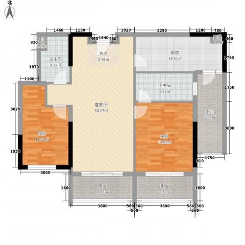 惠州雅居乐白鹭湖2室1厅2卫1厨128.00㎡户型图