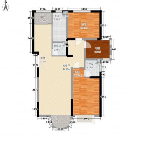香堤湾3室1厅2卫1厨133.00㎡户型图
