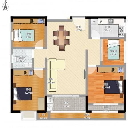 ECO城2室1厅1卫1厨123.00㎡户型图