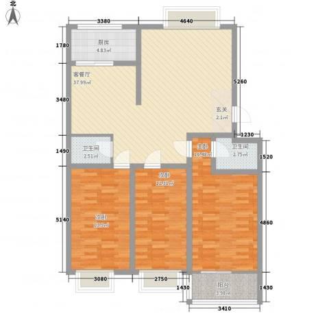 新城金水岸3室1厅2卫1厨131.00㎡户型图