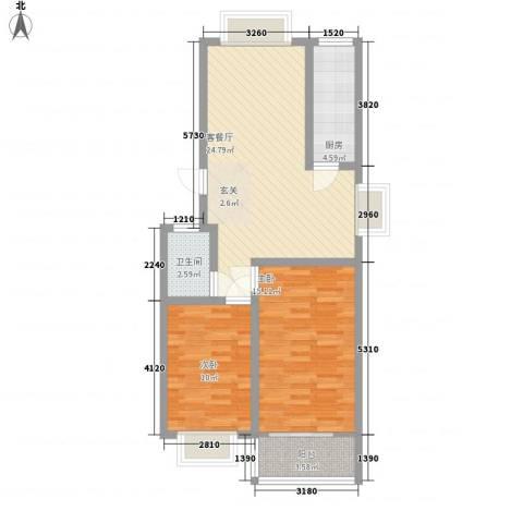 新城金水岸2室1厅1卫1厨88.00㎡户型图