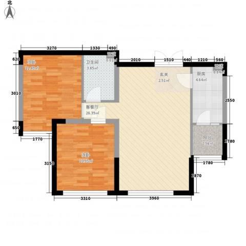 香堤湾2室1厅1卫1厨88.00㎡户型图