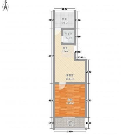新城金水岸1室1厅1卫1厨60.00㎡户型图