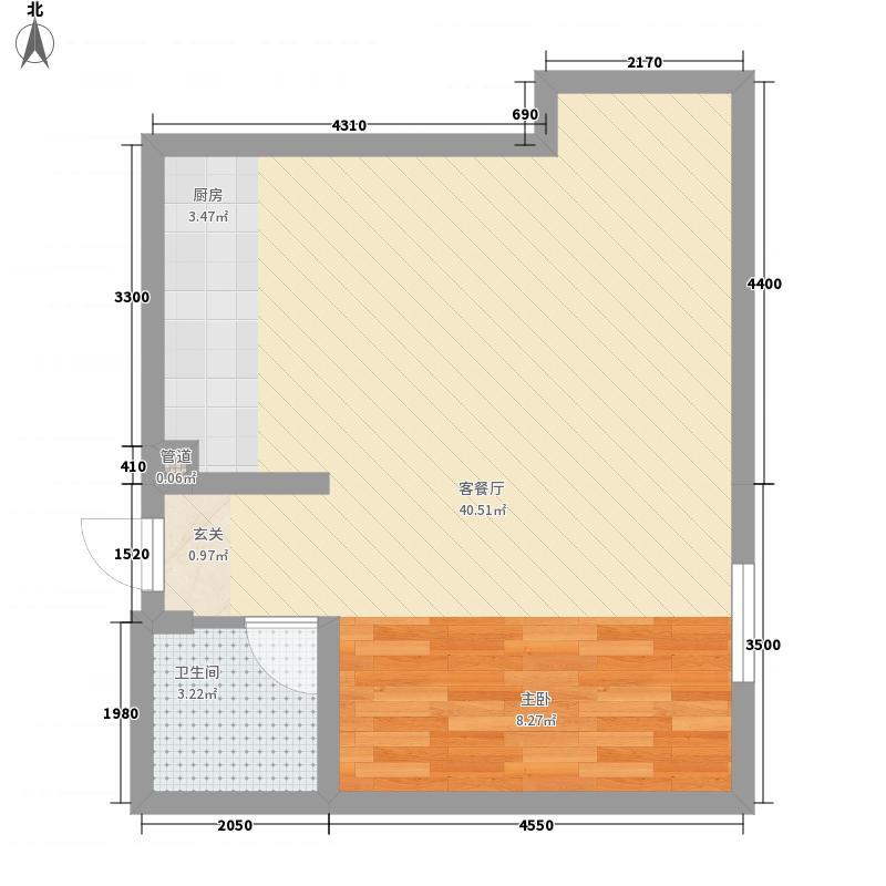 谷方71.17㎡T4、T5、T6号楼D户型1室1厅1卫1厨