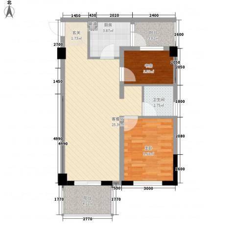 金典优客2室1厅1卫1厨78.00㎡户型图