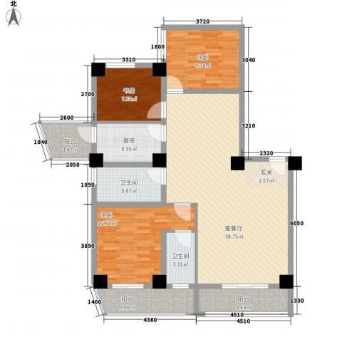 海上明珠家园3室1厅2卫1厨138.00㎡户型图
