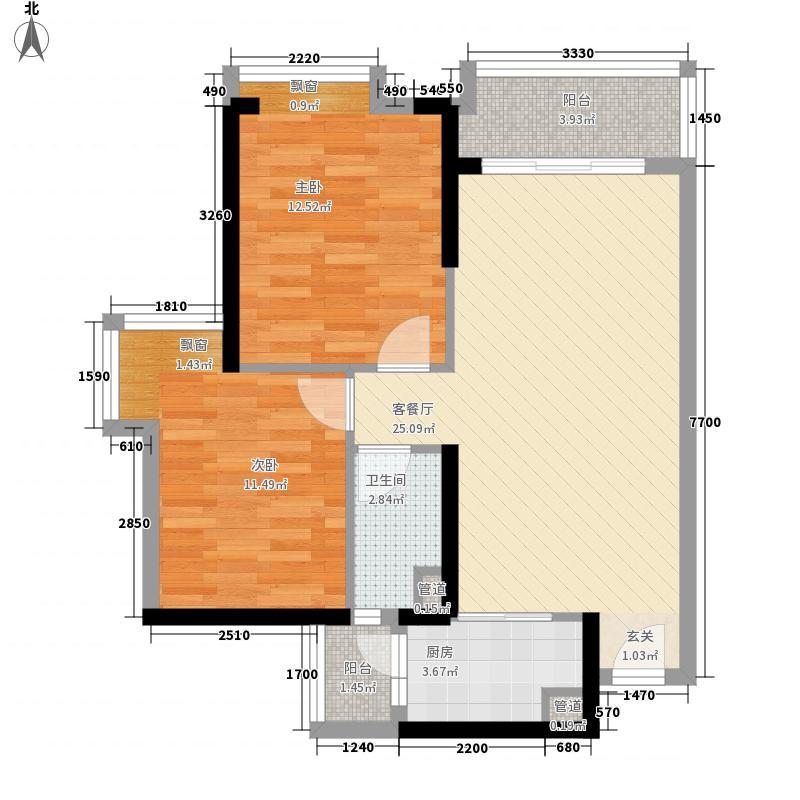 海伦堡・院子72.00㎡2栋02户型2室2厅1卫1厨