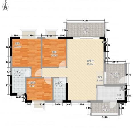 千禧嘉园3室1厅2卫1厨118.00㎡户型图