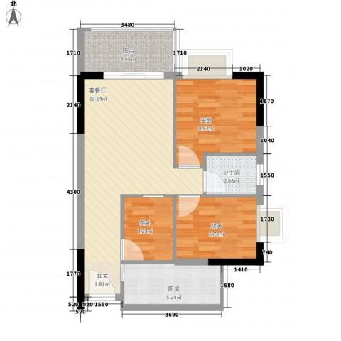 千禧嘉园3室1厅1卫1厨75.00㎡户型图