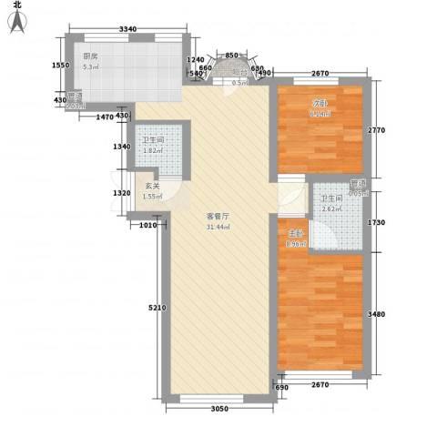 �悦香湾2室1厅2卫0厨76.00㎡户型图
