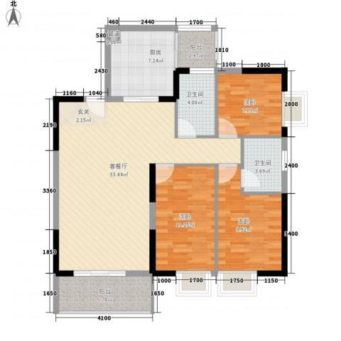 海志公园道一号3室1厅2卫1厨85.00㎡户型图