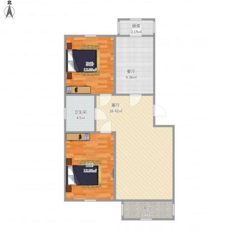 绿景家园2室2厅1卫1厨97.00㎡户型图