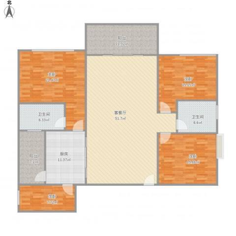 东湖花园七区702栋2单元212A4室1厅2卫1厨206.00㎡户型图