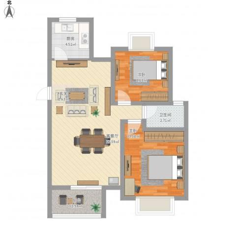 香樟茗岸2室1厅1卫1厨87.00㎡户型图