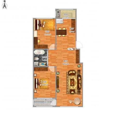 新桥城2室1厅1卫1厨109.00㎡户型图