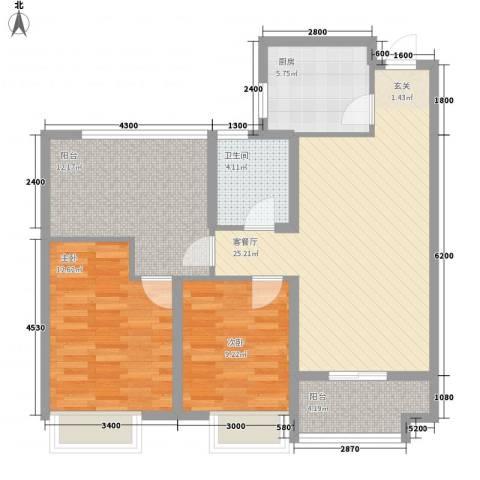 龙湖阁花园2室1厅1卫1厨104.00㎡户型图