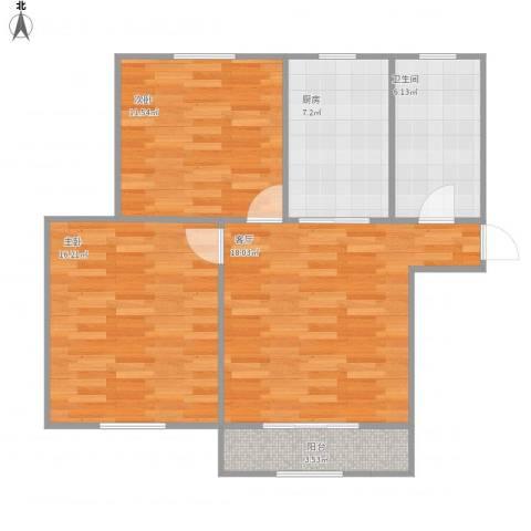 杨浦欣苑2室1厅1卫1厨83.00㎡户型图