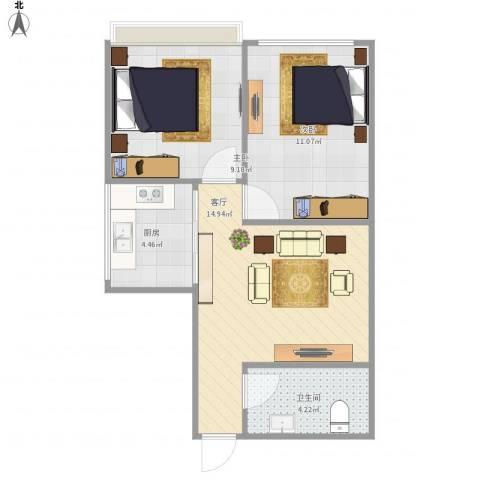 山海顺沁苑2室1厅1卫1厨60.00㎡户型图