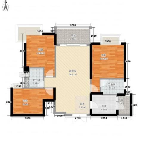 星际豪庭3室1厅2卫1厨78.43㎡户型图
