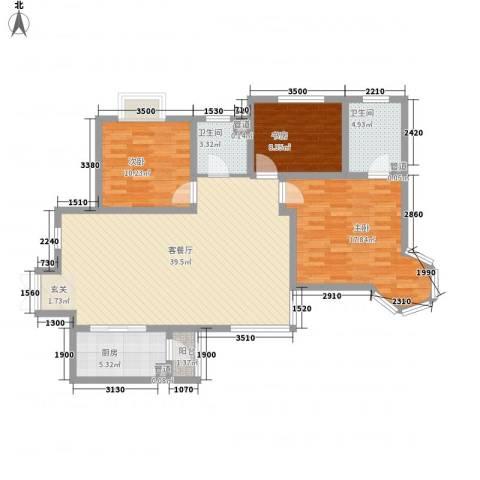 凤翔新城二期3室1厅2卫1厨104.11㎡户型图